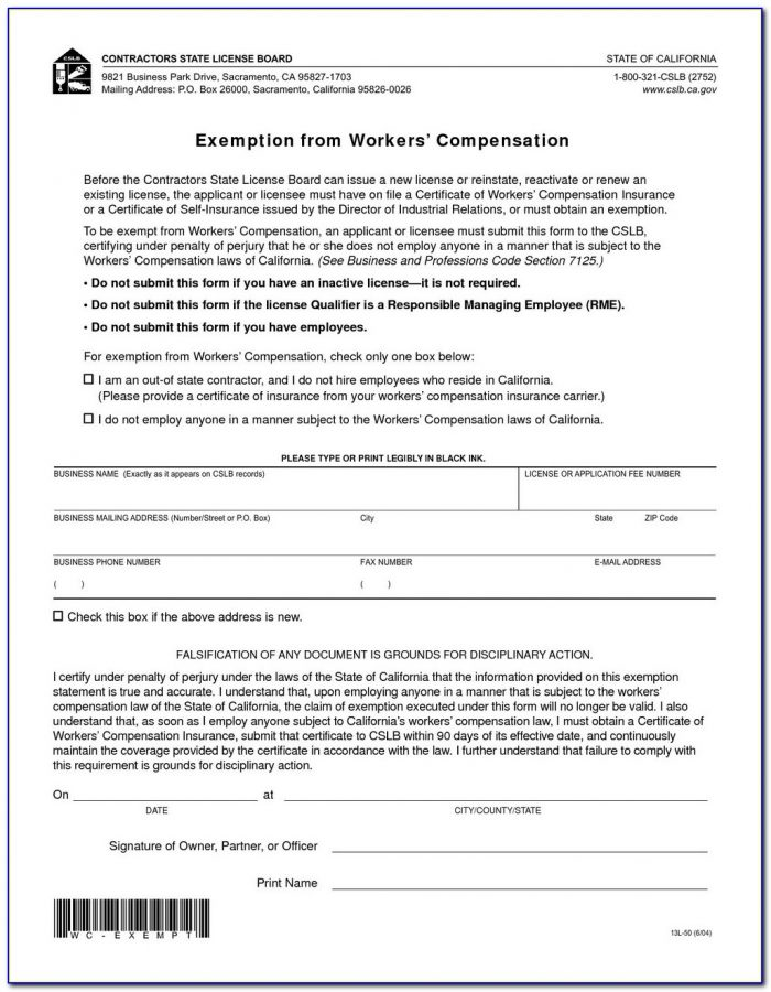 Texas Work Comp Exclusion Form