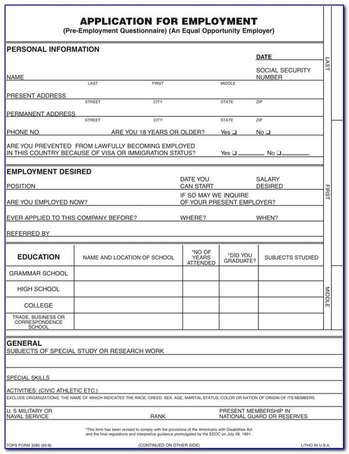 Tops Form 2170 Pdf