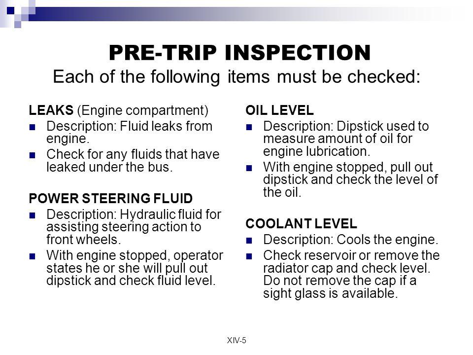 Transit Bus Pre Trip Inspection Form