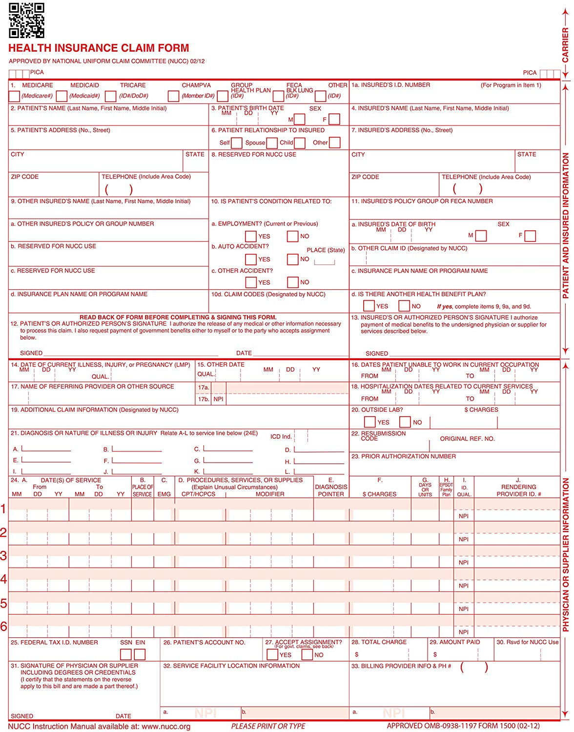 Transition To The Cms 1500 Health Insurance Claim Form (02 12) Version
