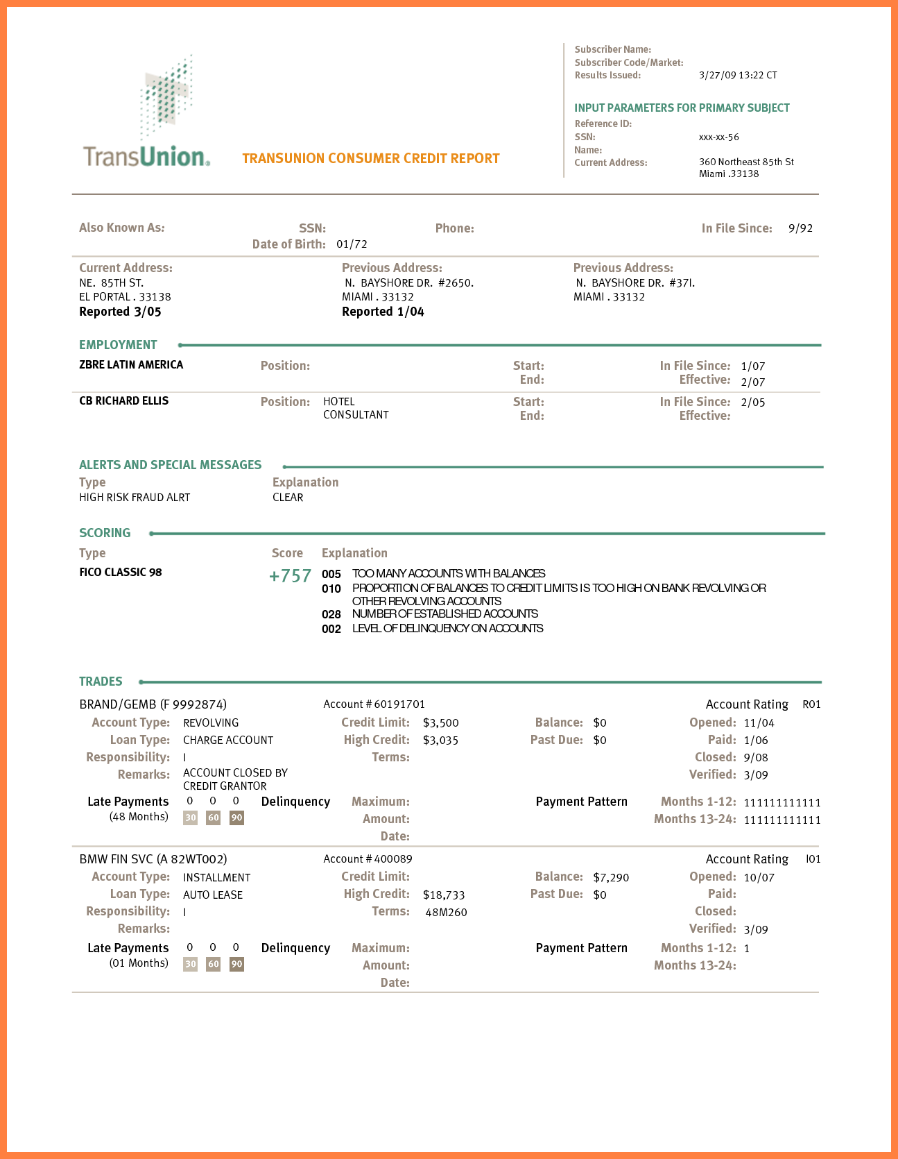 Transunion Credit Report Format