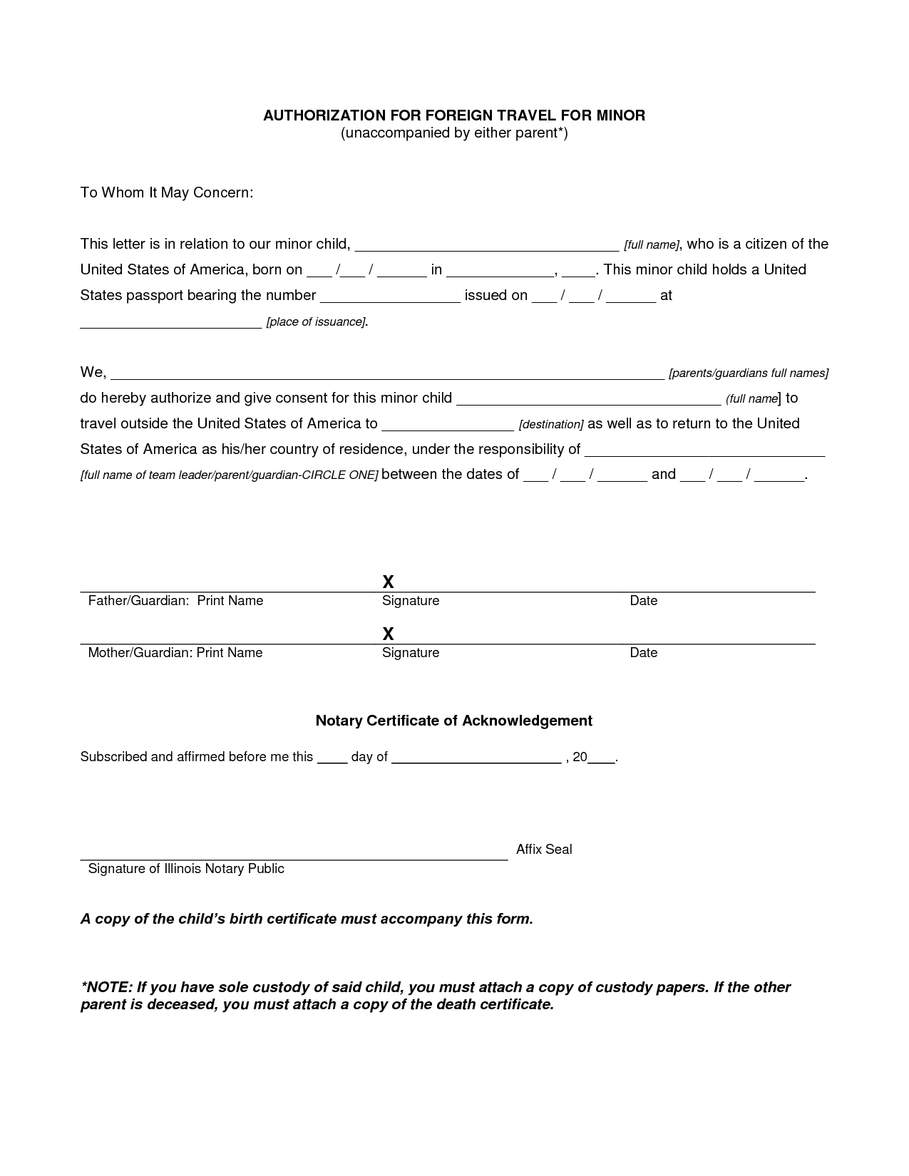 Travel Consent Form For Minor Child Traveling With One Parent Pdf