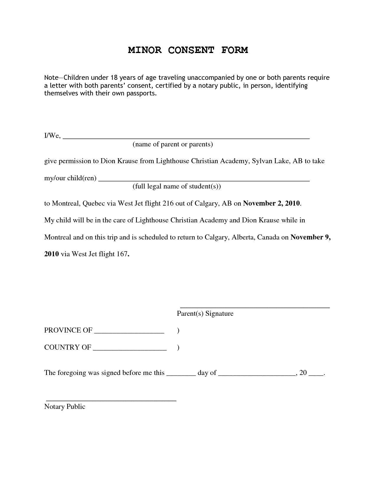Travel Consent Form For Minor Child Traveling With One Parent Sample
