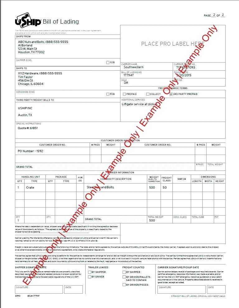 Truck Bill Of Lading Template