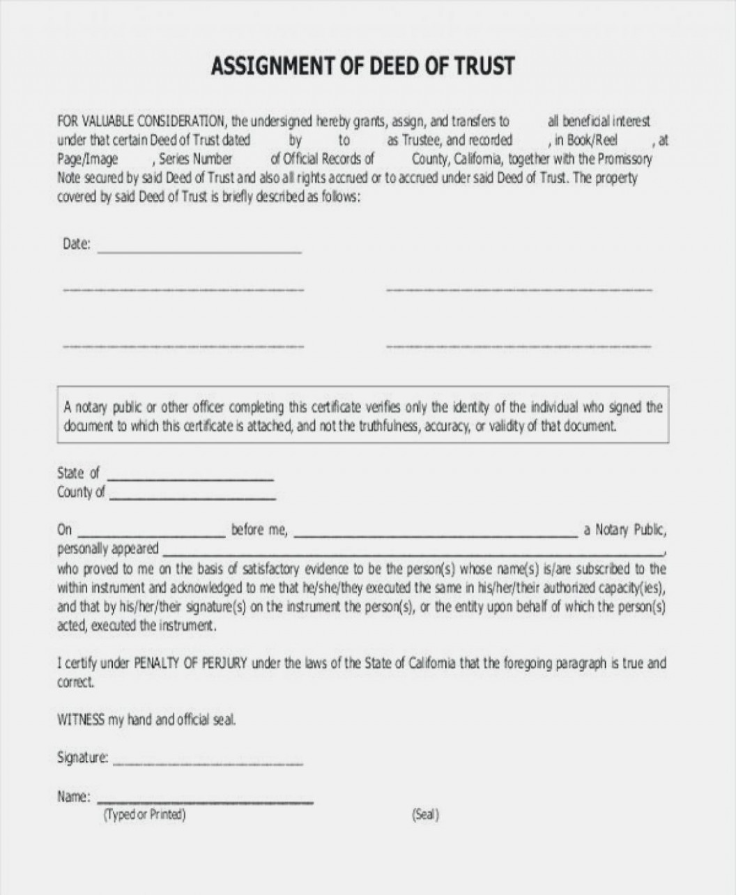 Trust Transfer Deed Sample