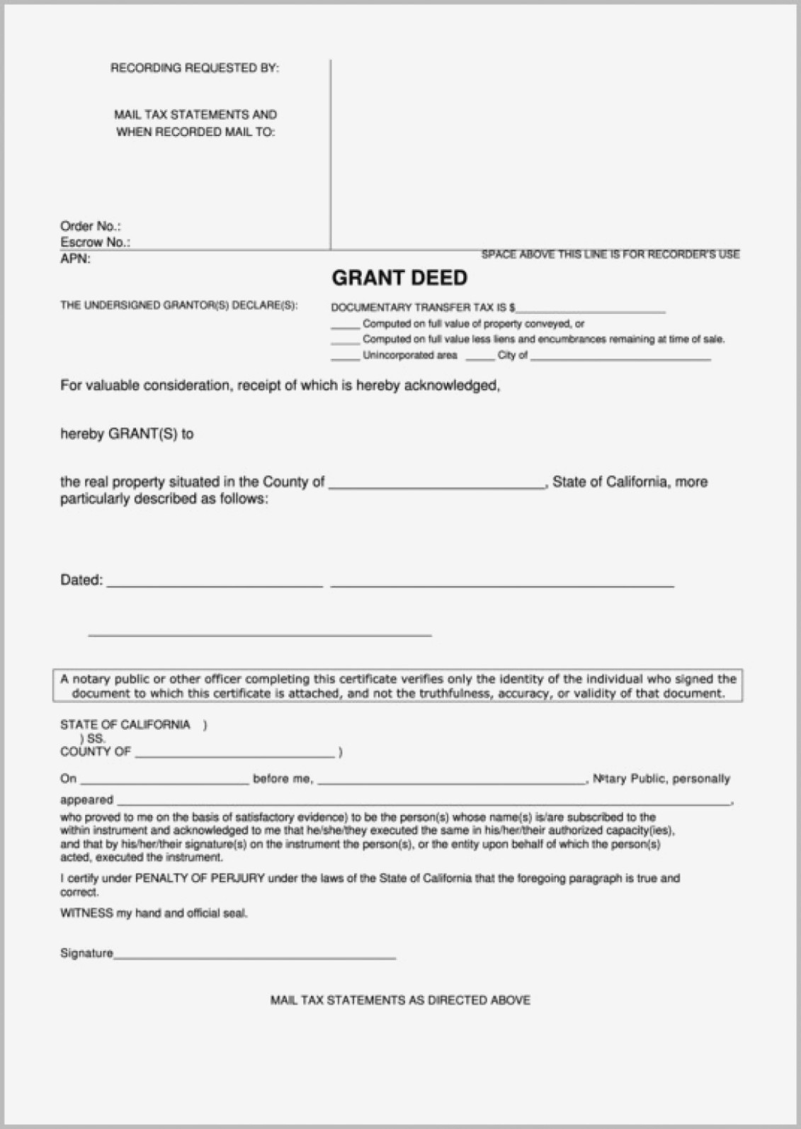Trust Transfer Grant Deed Form