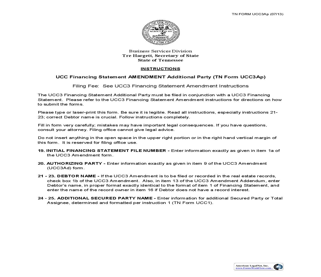 Ucc Filing Form Tennessee