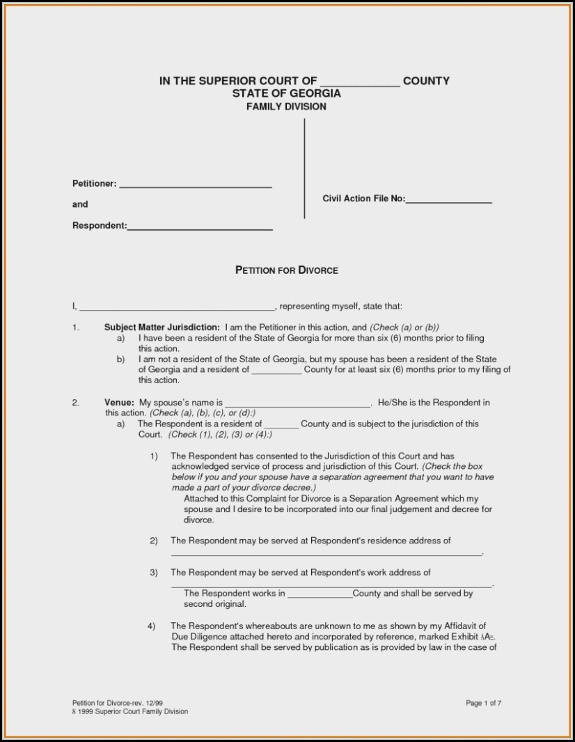 Uncontested Divorce Forms Ga