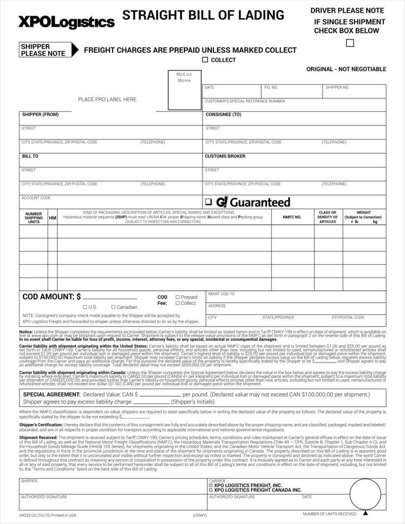 Uniform Straight Bill Of Lading Long Form