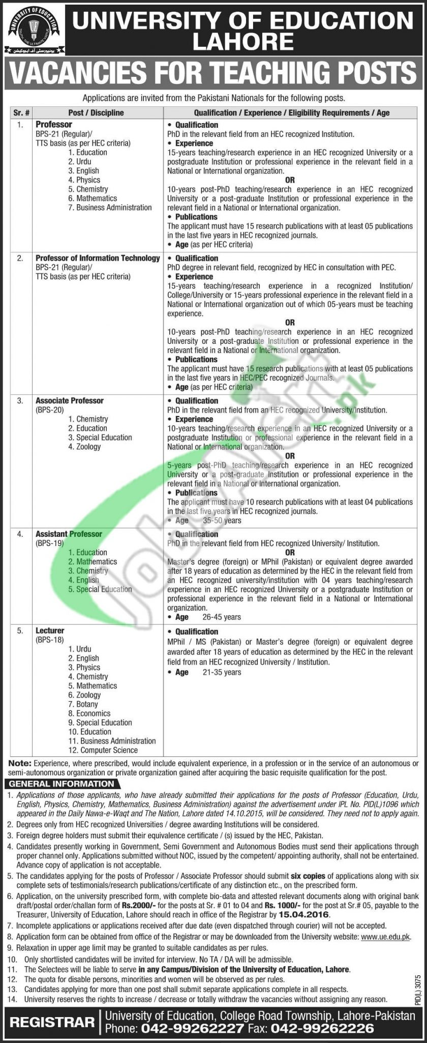 University Of Lahore Jobs Application Form