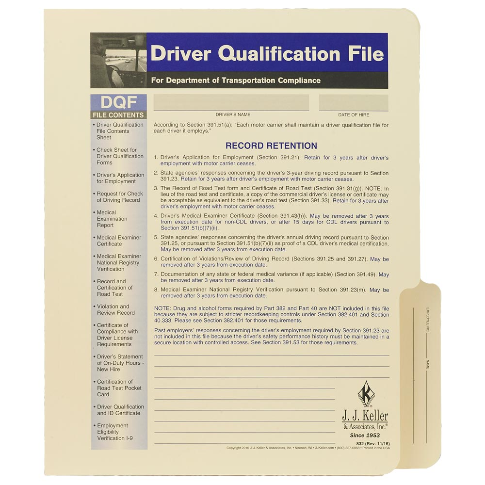 Us Dot Driver Qualification File Forms