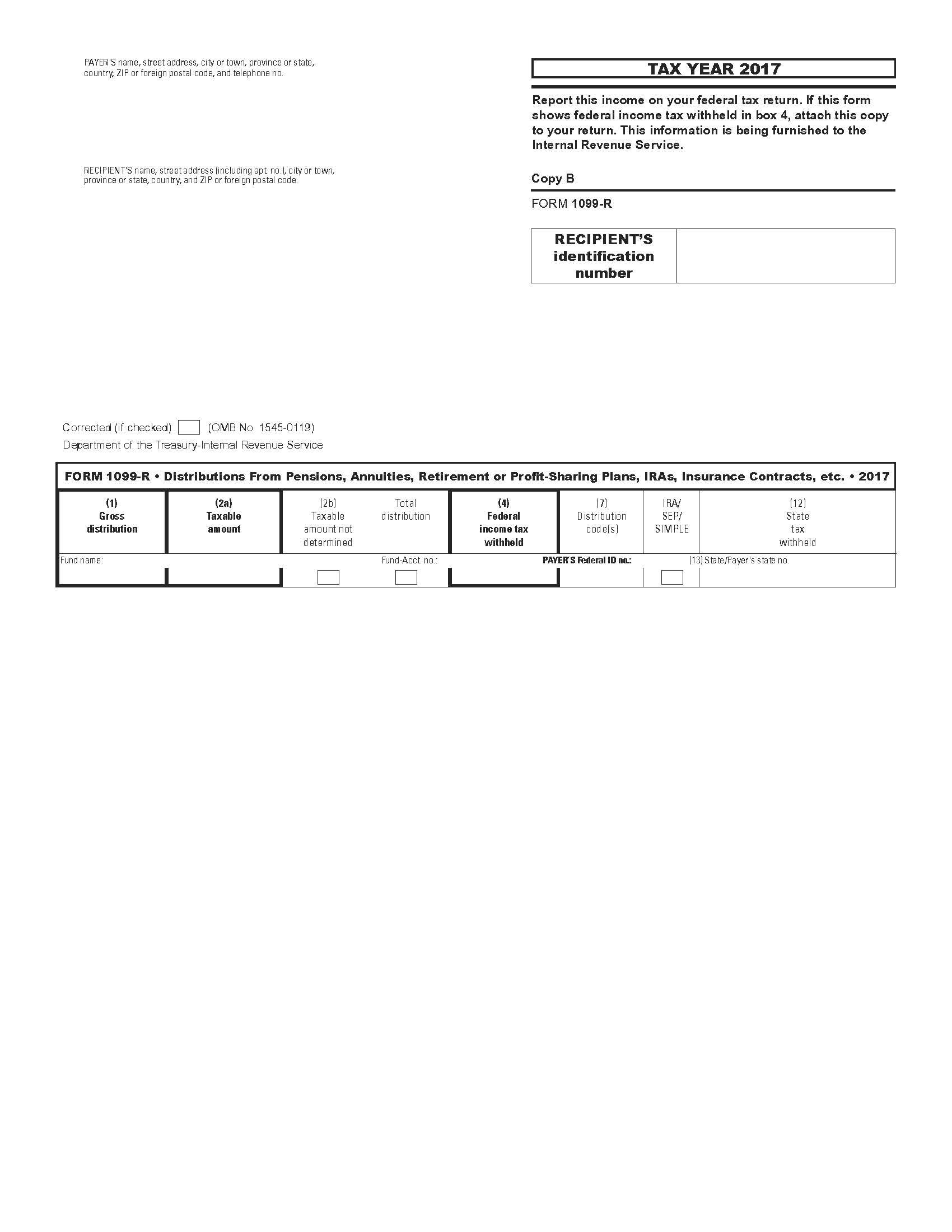 Us Income Tax Form 1099 R