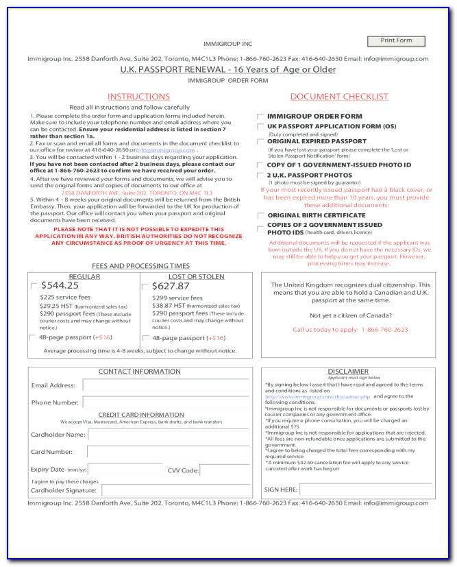 Us Passport Renewal Form Printable