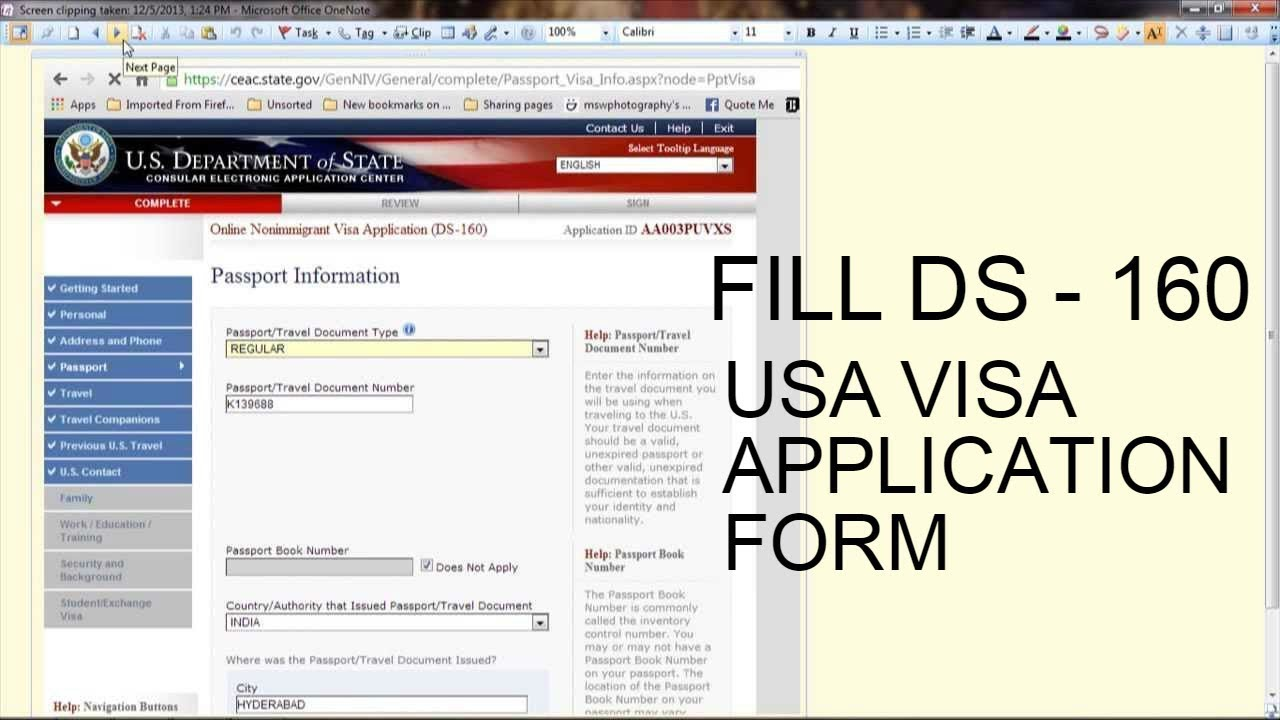 Us Tourist Visa Application Form India