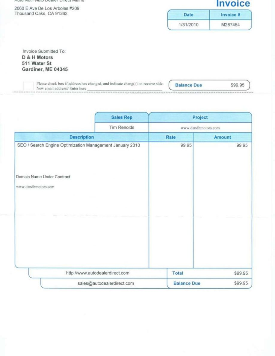 Used Car Sales Receipt Example