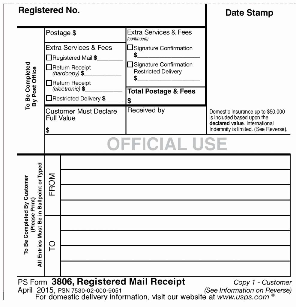 Usps Form 3547 Awesome Usps Registered Mail