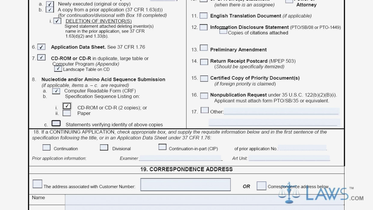 Utility Patent Application Transmittal Form For Transmittal Letter