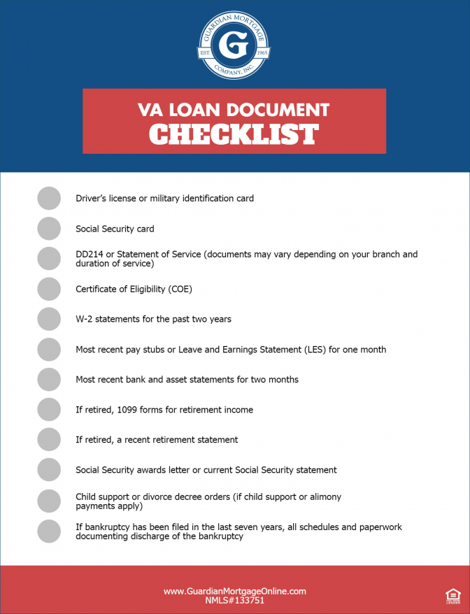 Va Mortgage Document Checklist