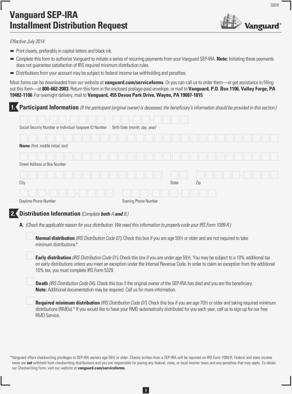 Vanguard Sep Ira Form