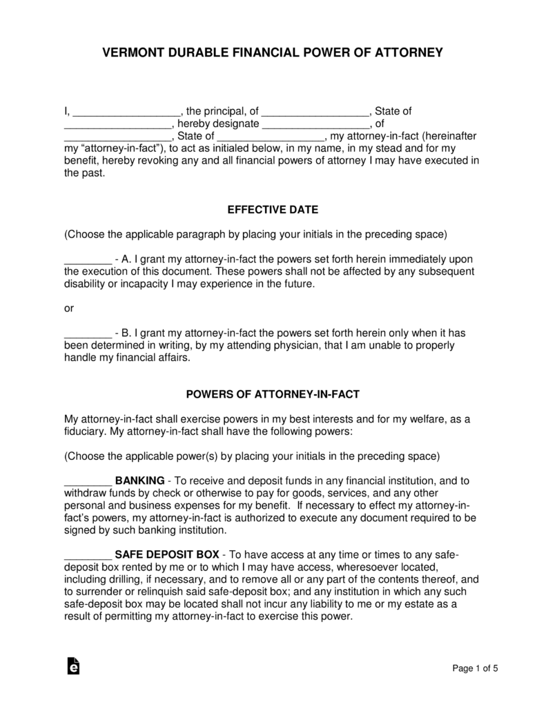 Vermont Durable Power Of Attorney For Health Care Form