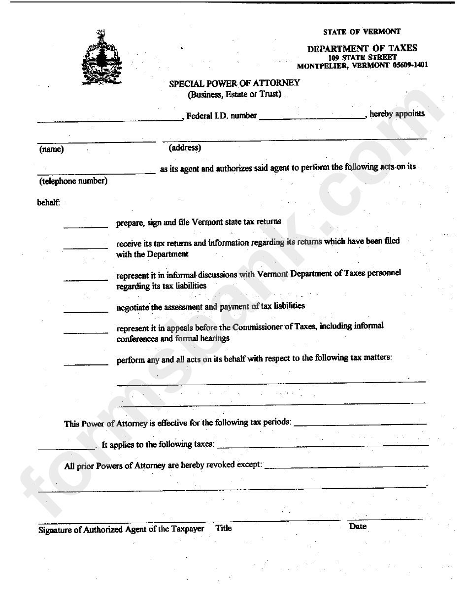 Vermont State Power Of Attorney Form