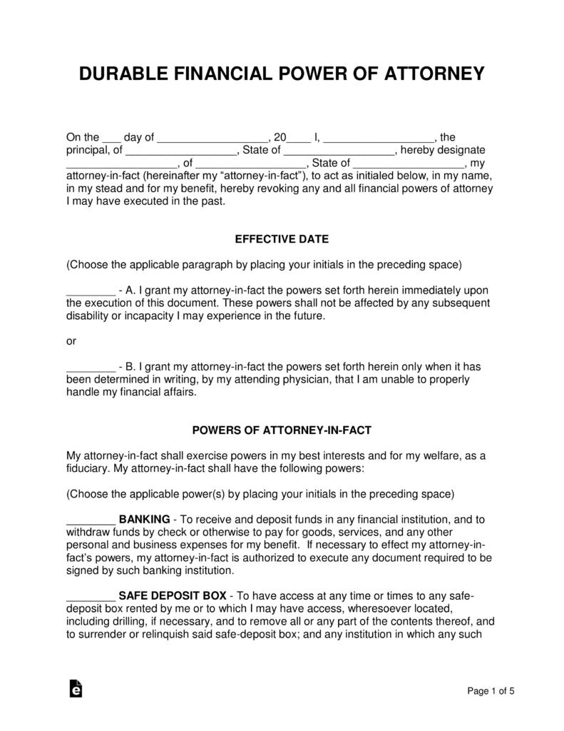 Vermont Statutory Power Of Attorney Form
