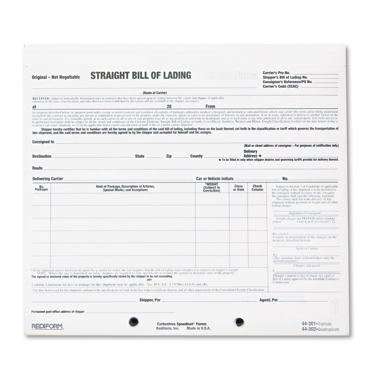 Vics Standard Bill Of Lading Form