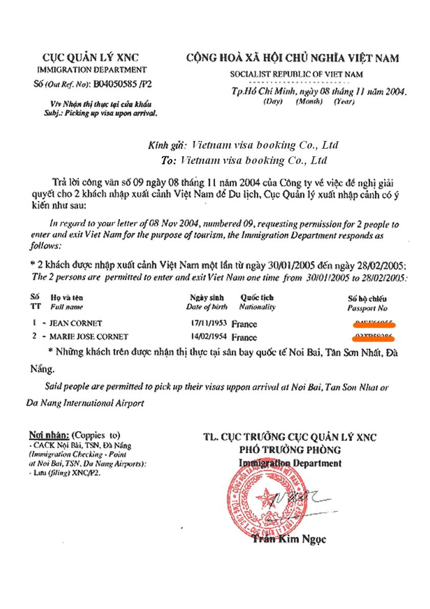 Vietnam Business Visa On Arrival Form