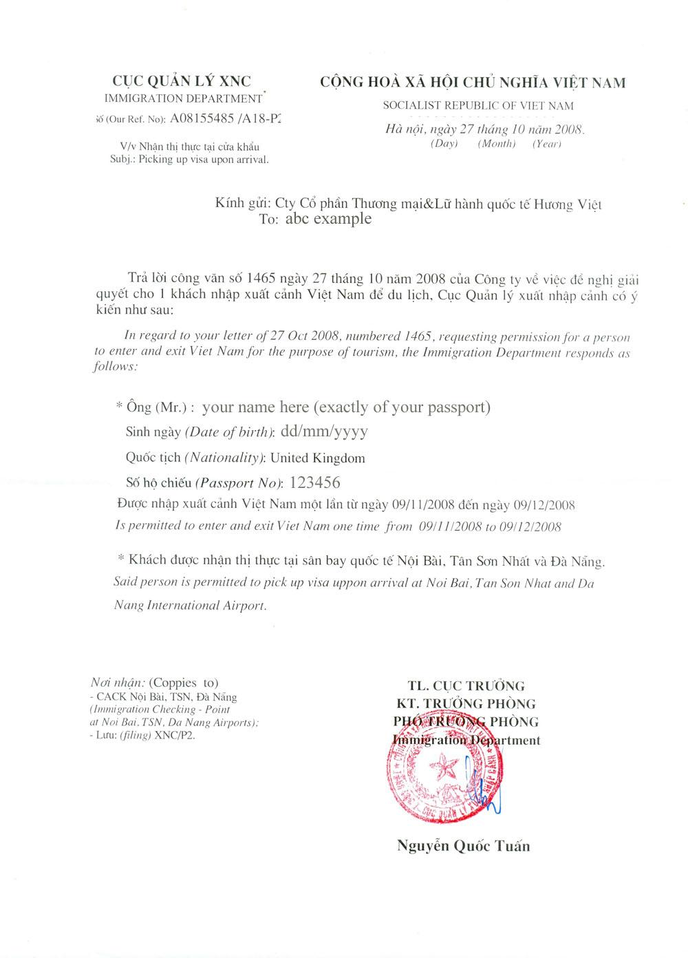 Vietnam Visa Arrival Form Download