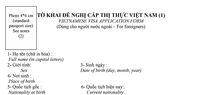 Vietnam Visa On Arrival Form N1