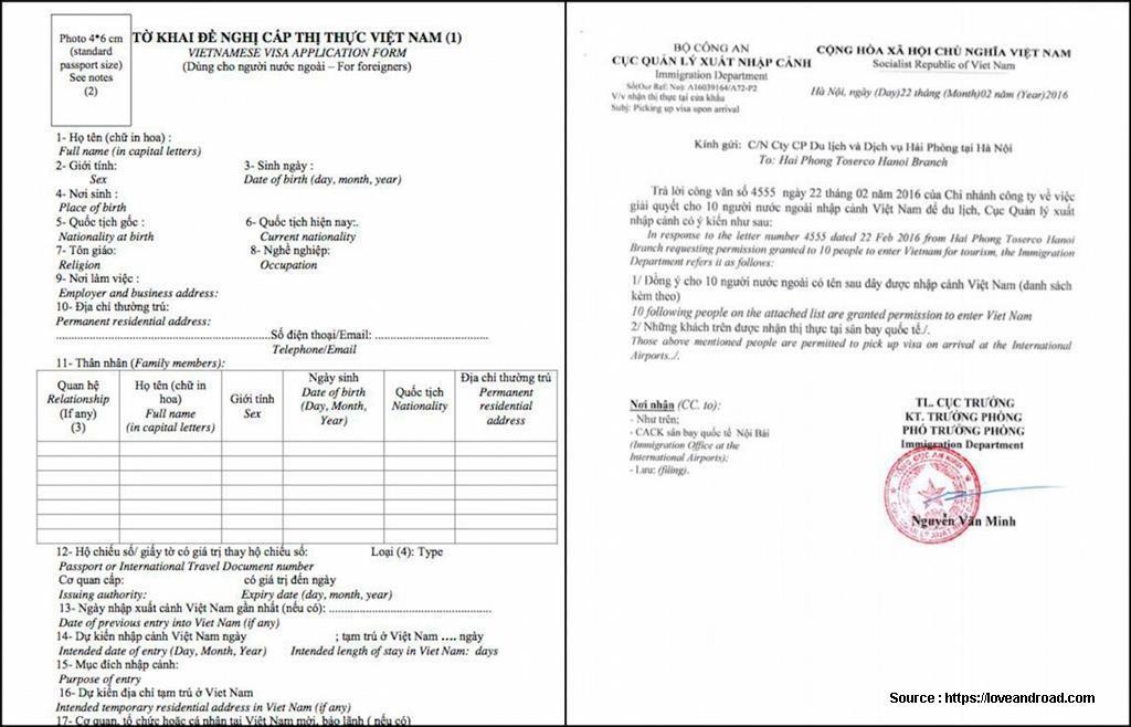 Vietnamese Tourist Visa Application Form
