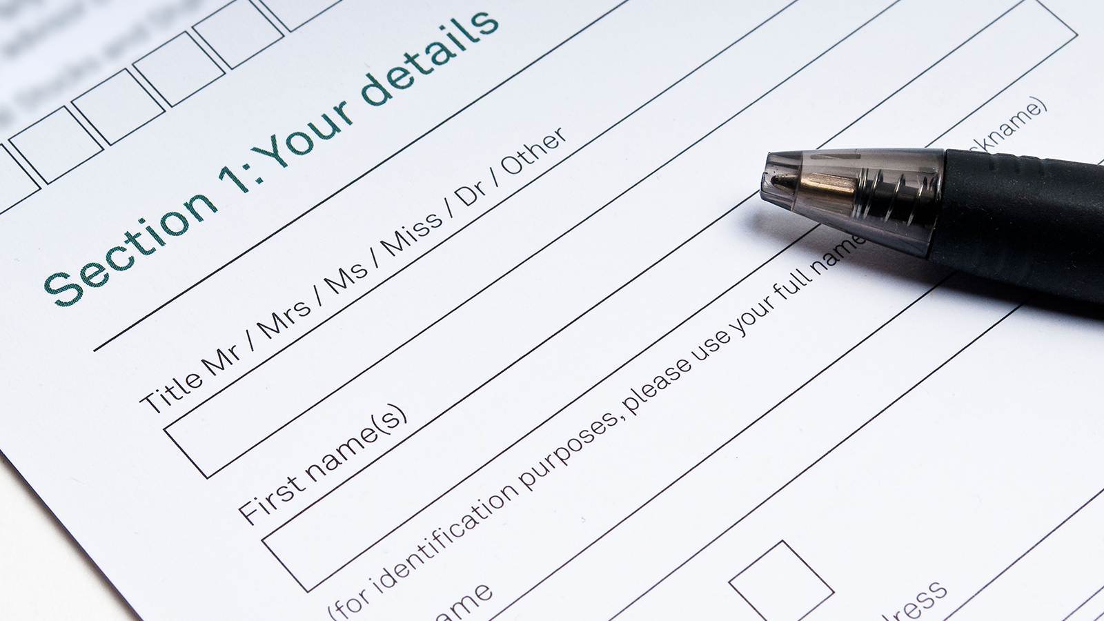 Application Form To Fill In With Your Details And Pen