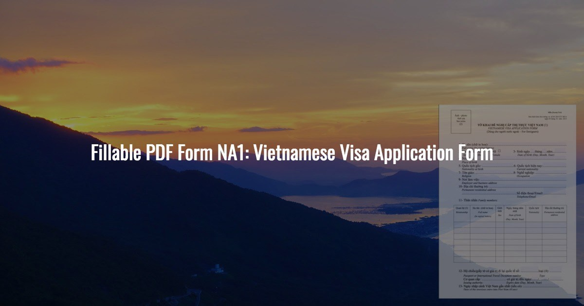 Vietnamese Visa Application Form Pdf