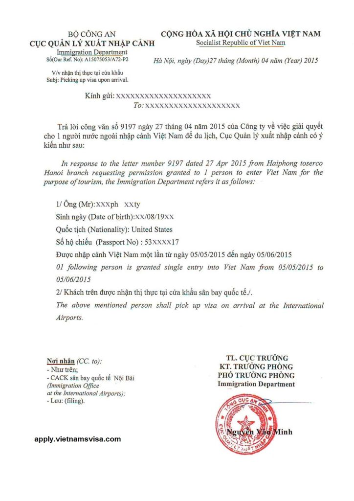 Vietnamese Visa Application Form Word