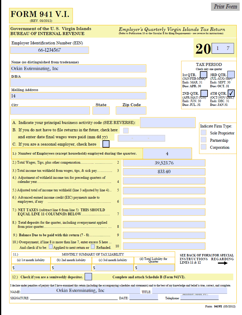 Virgin Islands Bureau Of Internal Revenue Forms