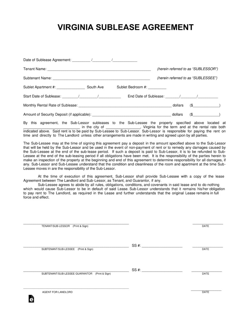 Virginia Rental Agreement Forms Free