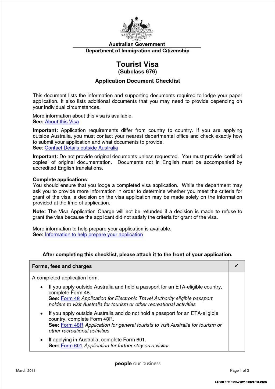 Visitor Visa Australia Form 48r