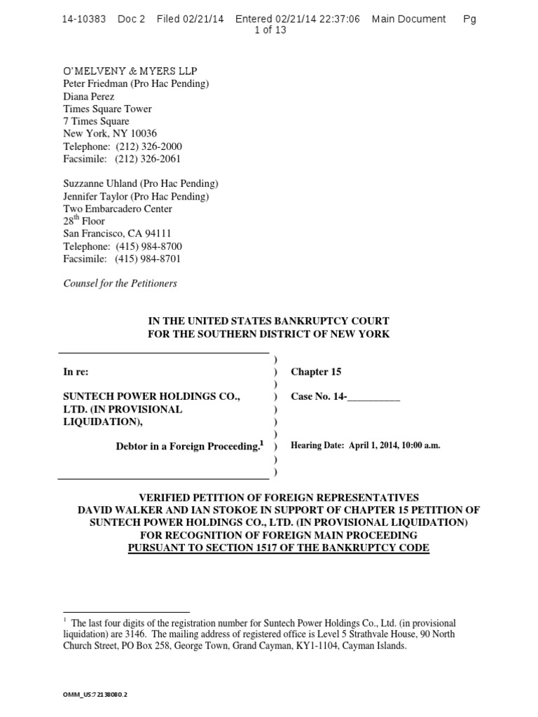 Voluntary Bankruptcy Petition Chapter 7