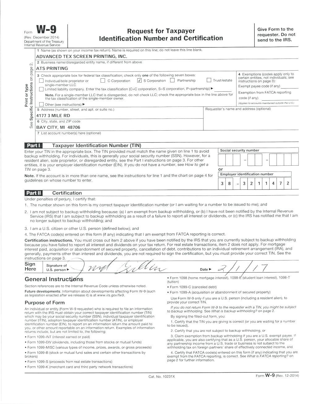 W 9 Printable Tax Form