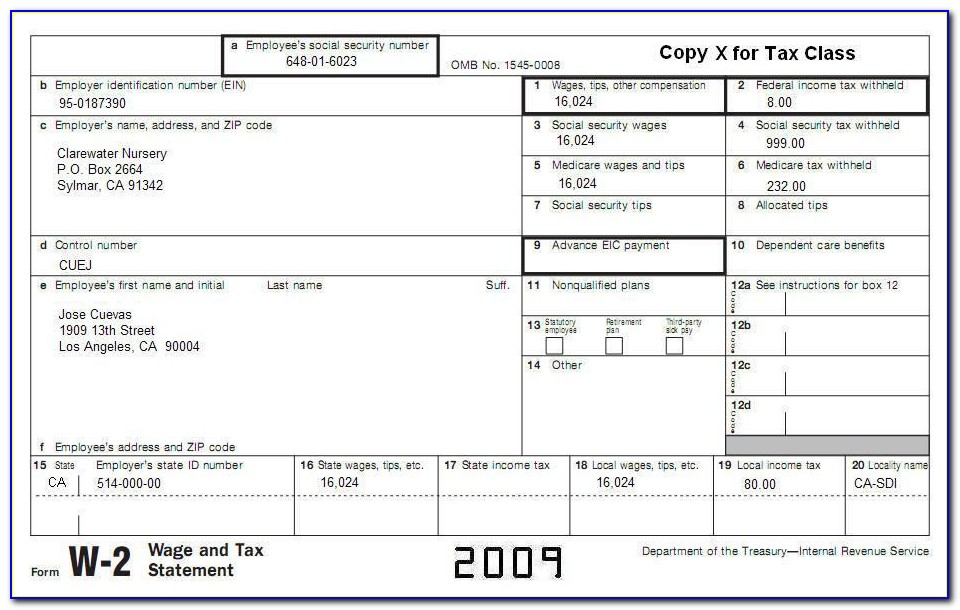 W2 2012 Tax Form Printable