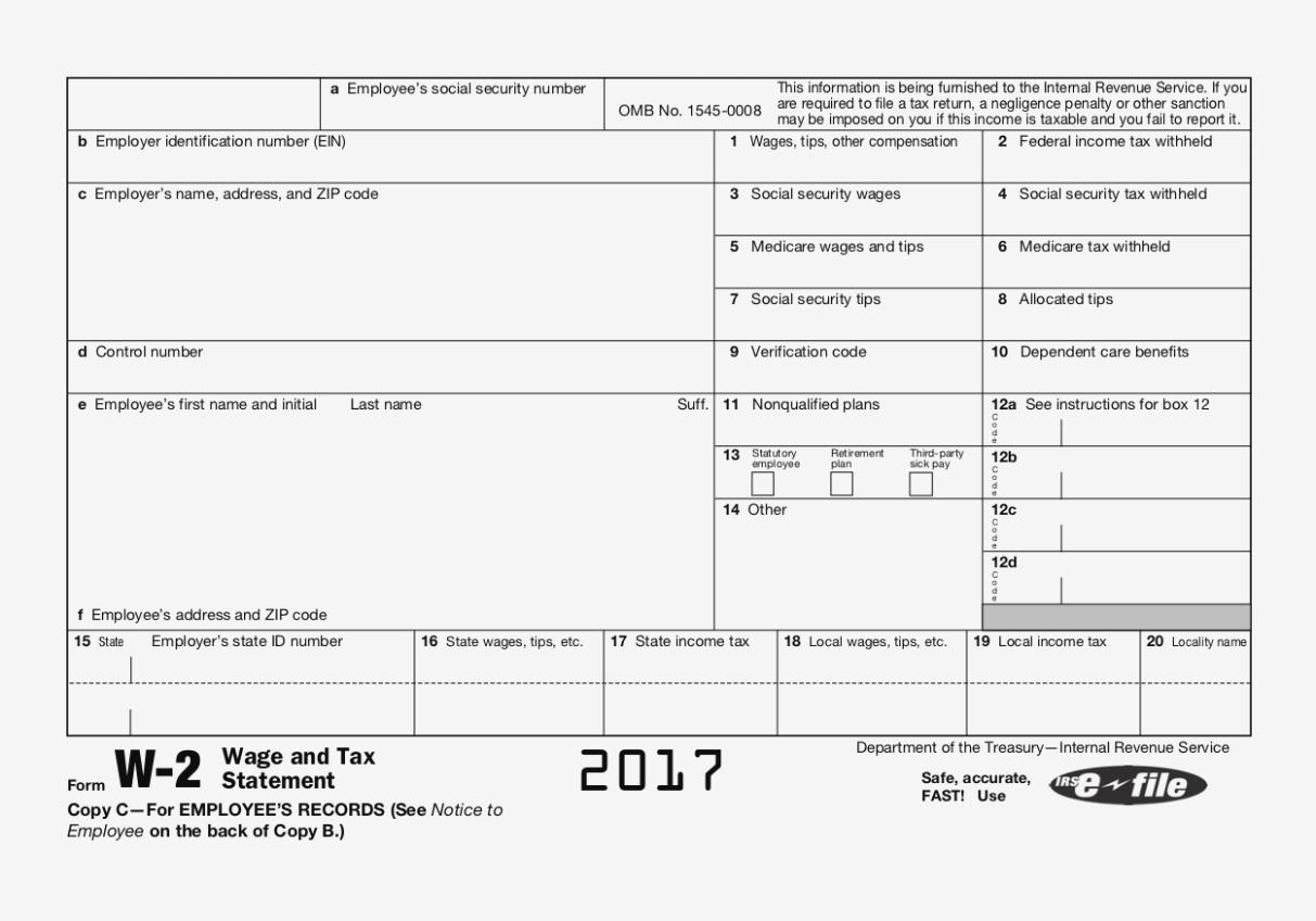 W2 Employee Form 2018