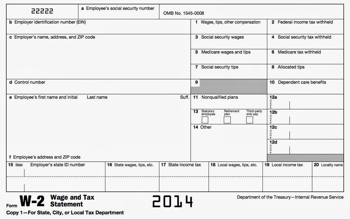 W2 Forms 2014 Printable