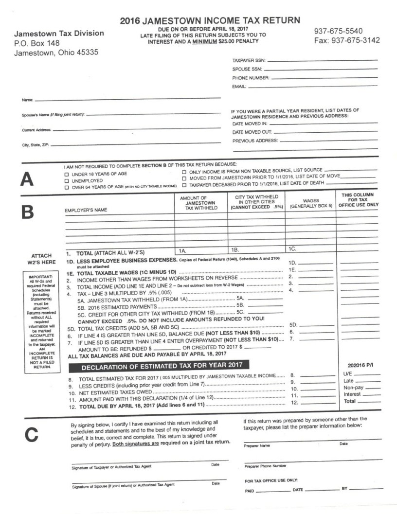 W2 State Income Tax Form