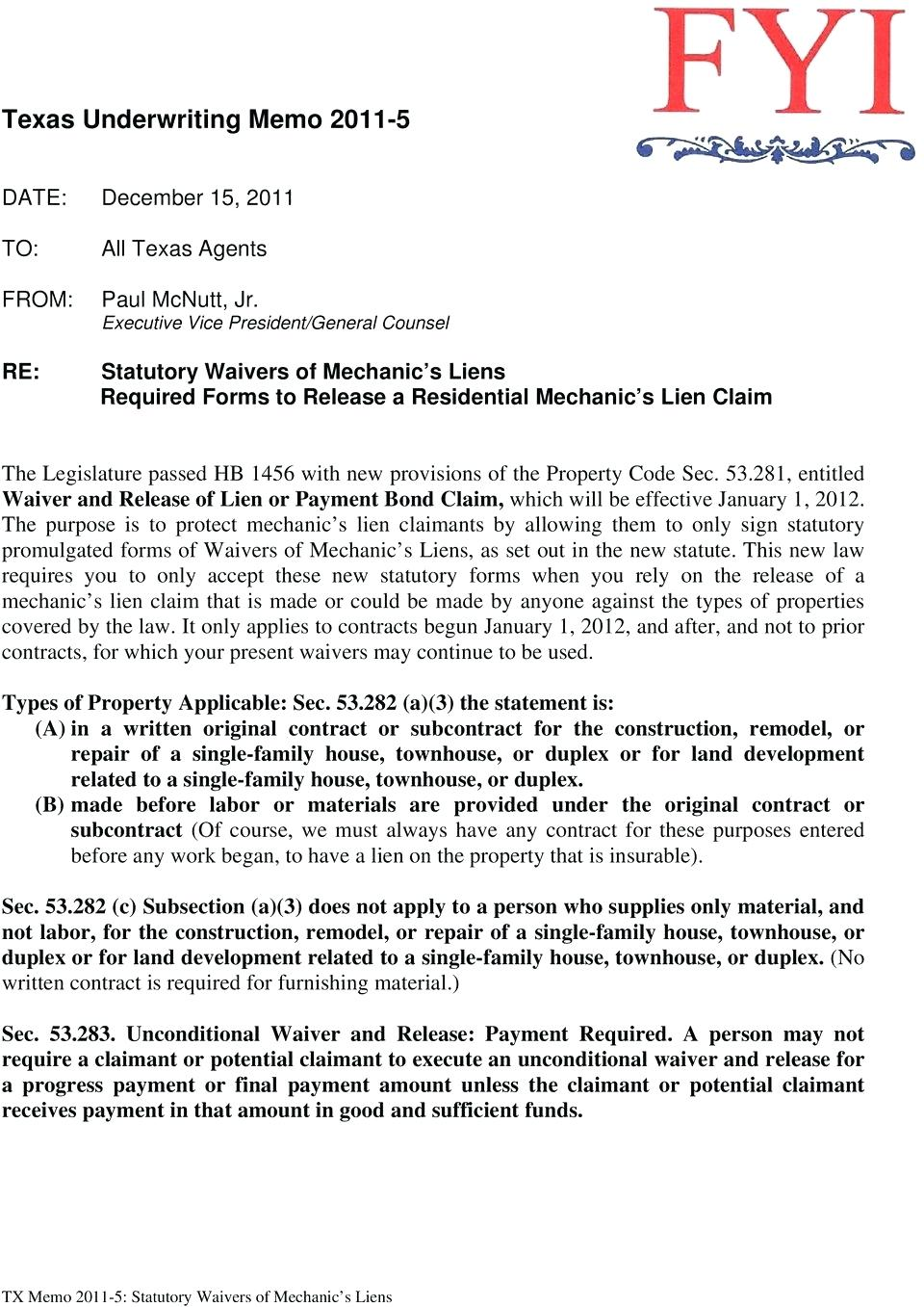 Waiver And Release Of Lien Form Florida