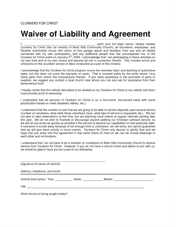 Waiver Of Liability Form Template Australia