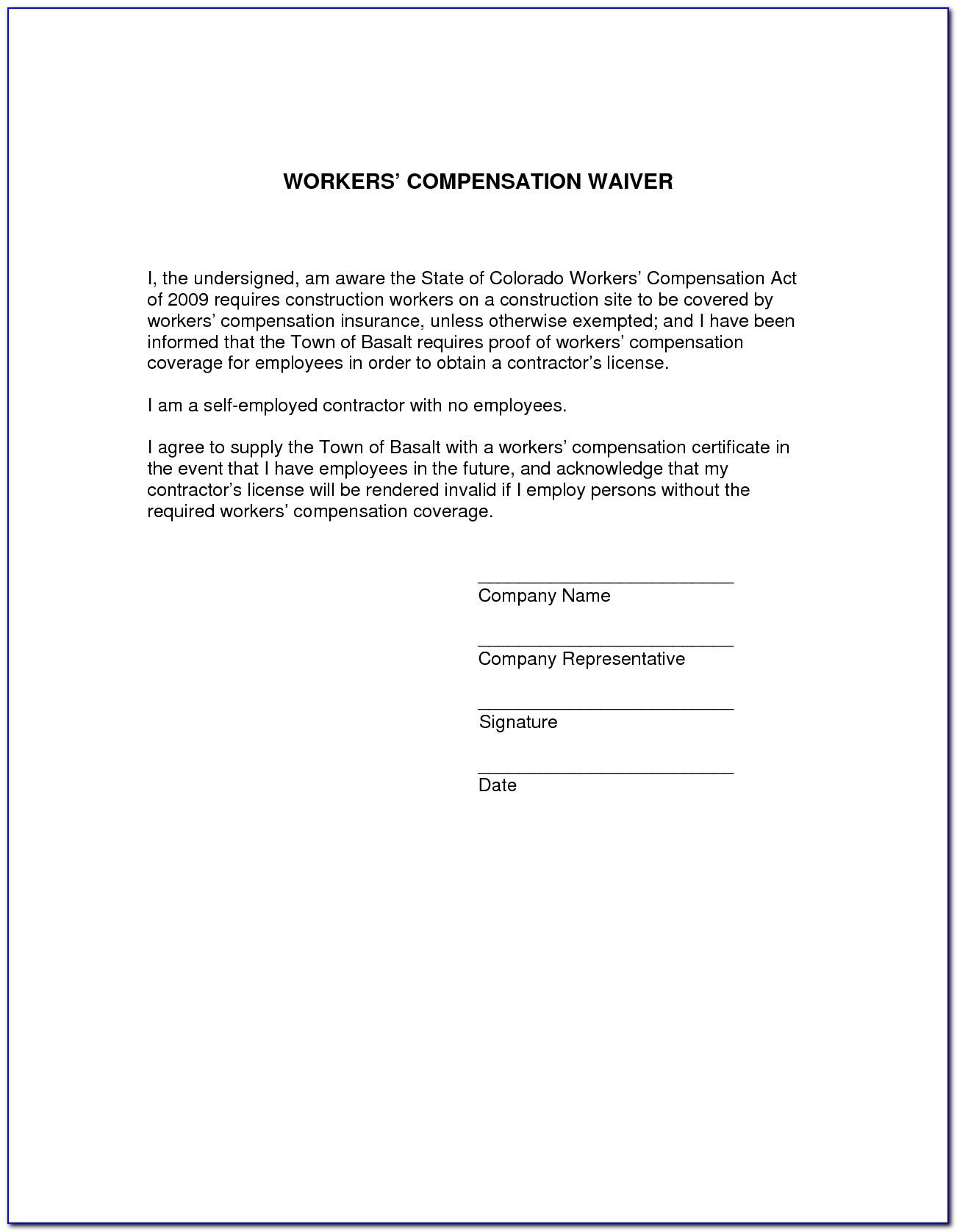 Waiver Of Subrogation Form For Workers Comp