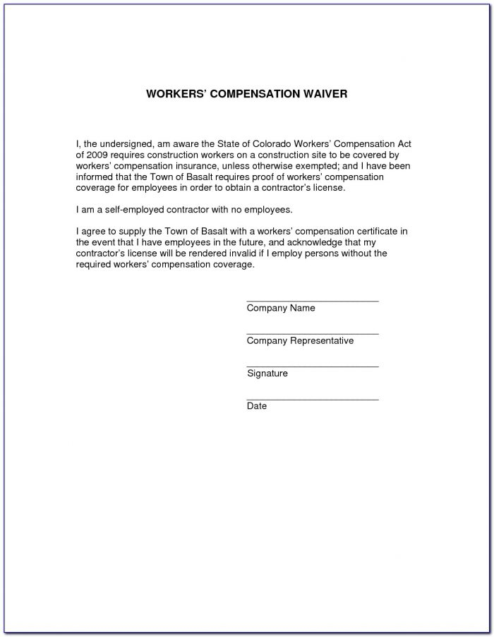 Waiver Of Workers Compensation Form California