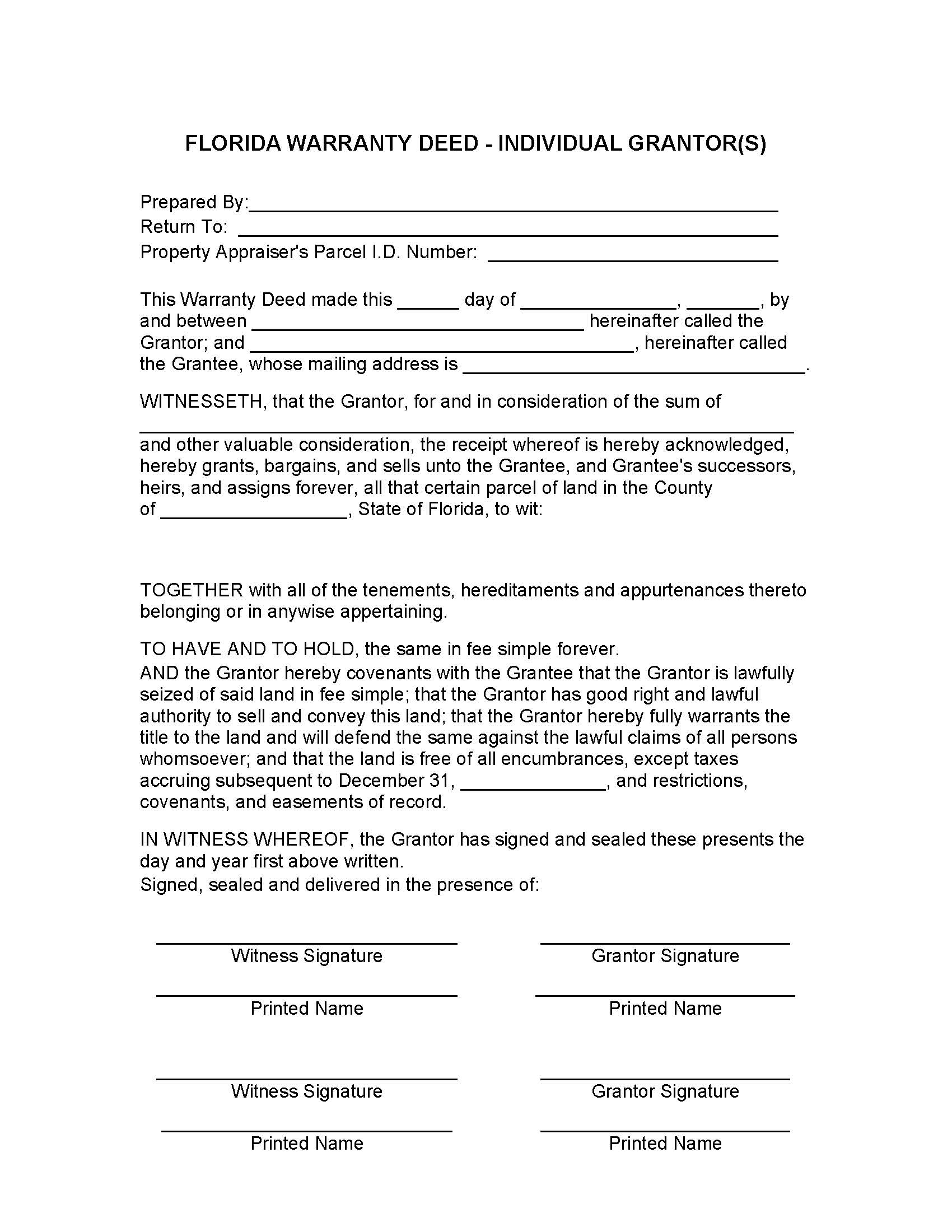 Warranty Deed Forms Florida
