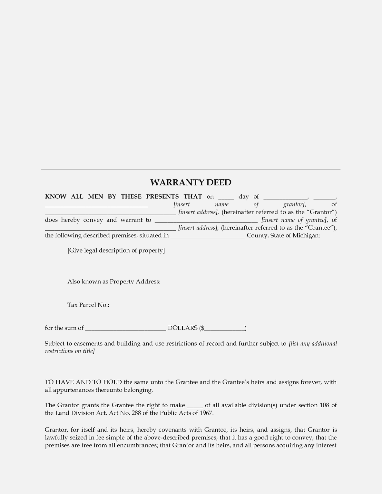 Warranty Deed Template Michigan