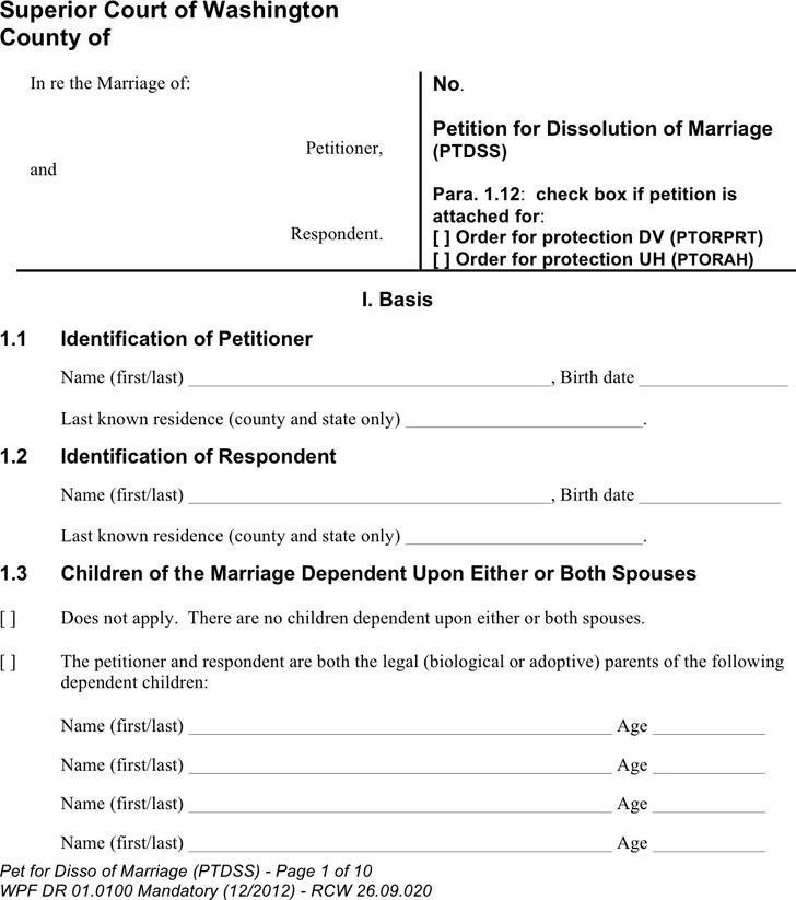 Washington State Pro Se Divorce Forms